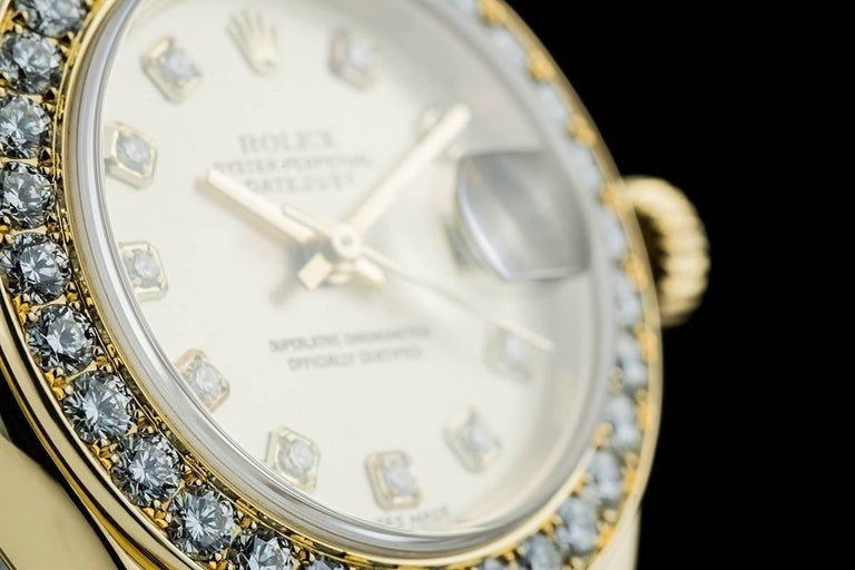 Rolex Ladies Yellow Gold Diamond Datejust Pearlmaster Automatic Wristwatch In Excellent Condition For Sale In London, GB