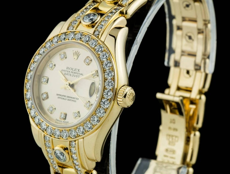Women's Rolex Ladies Yellow Gold Diamond Datejust Pearlmaster Automatic Wristwatch For Sale