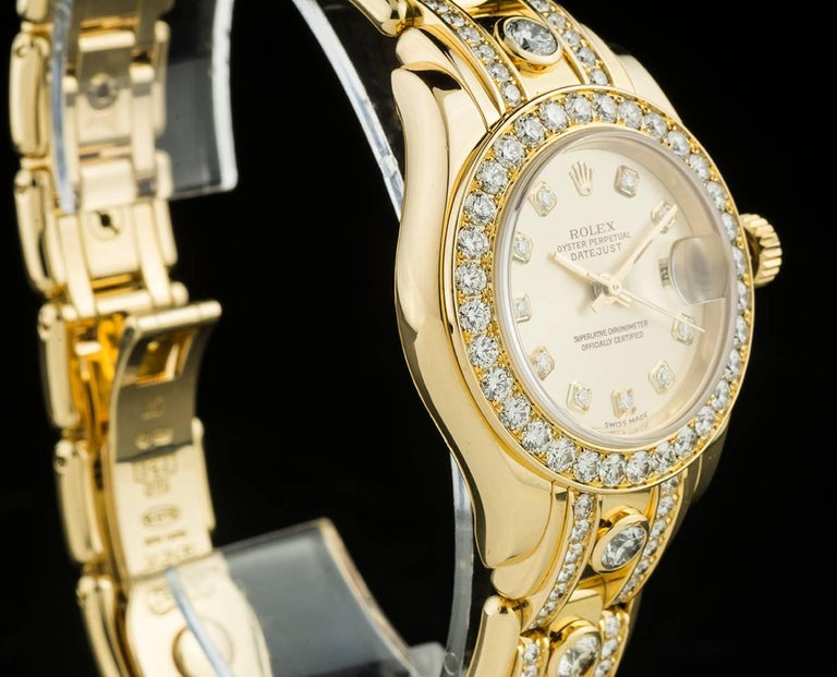 Rolex Ladies Yellow Gold Diamond Datejust Pearlmaster Automatic Wristwatch For Sale 1