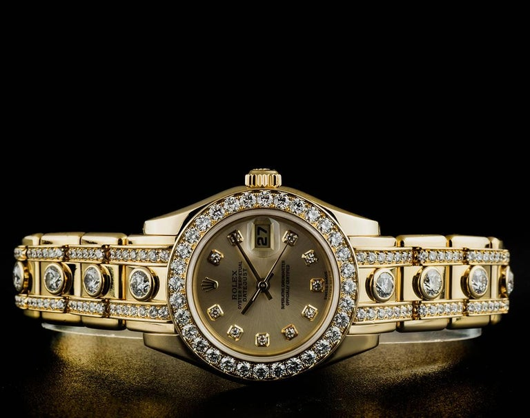 Rolex Ladies Yellow Gold Diamond Datejust Pearlmaster Automatic Wristwatch For Sale 2