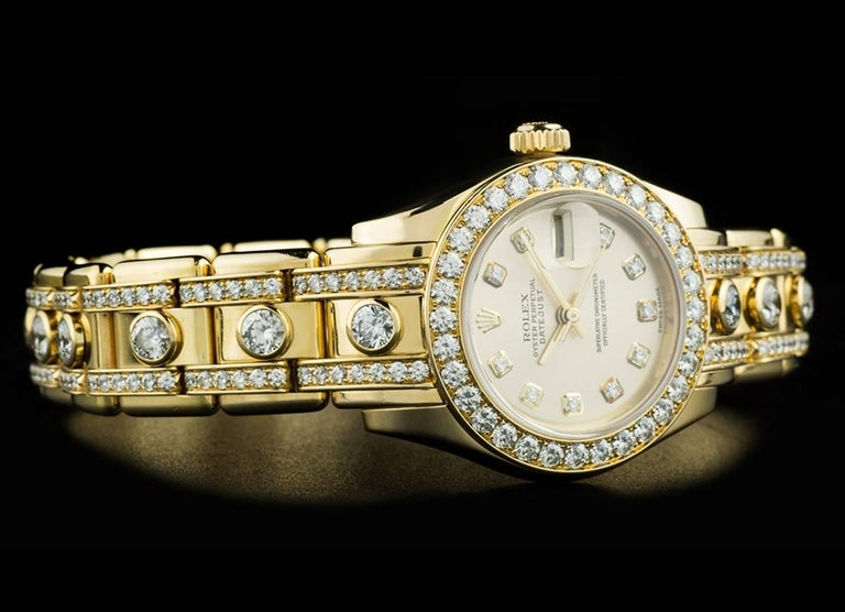 Rolex Ladies Yellow Gold Diamond Datejust Pearlmaster Automatic Wristwatch For Sale 3