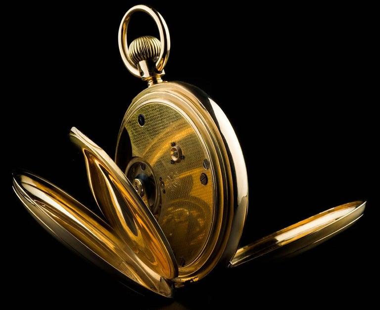 Women's or Men's Yellow Gold White Enamel Roman Dial Pocket Watch For Sale