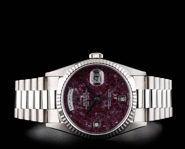 Women's or Men's Rolex White Gold Day-Date Grossular Diamond Dial automatic Wristwatch For Sale