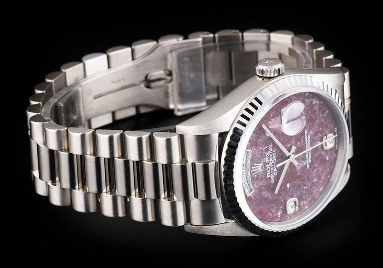 Rolex White Gold Day-Date Grossular Diamond Dial automatic Wristwatch For Sale 1