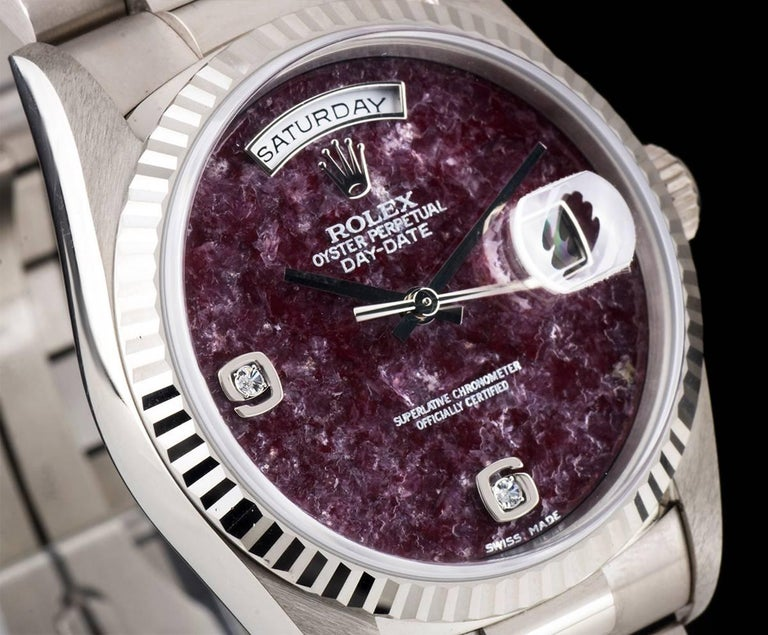Rolex White Gold Day-Date Grossular Diamond Dial automatic Wristwatch In As New Condition For Sale In London, GB