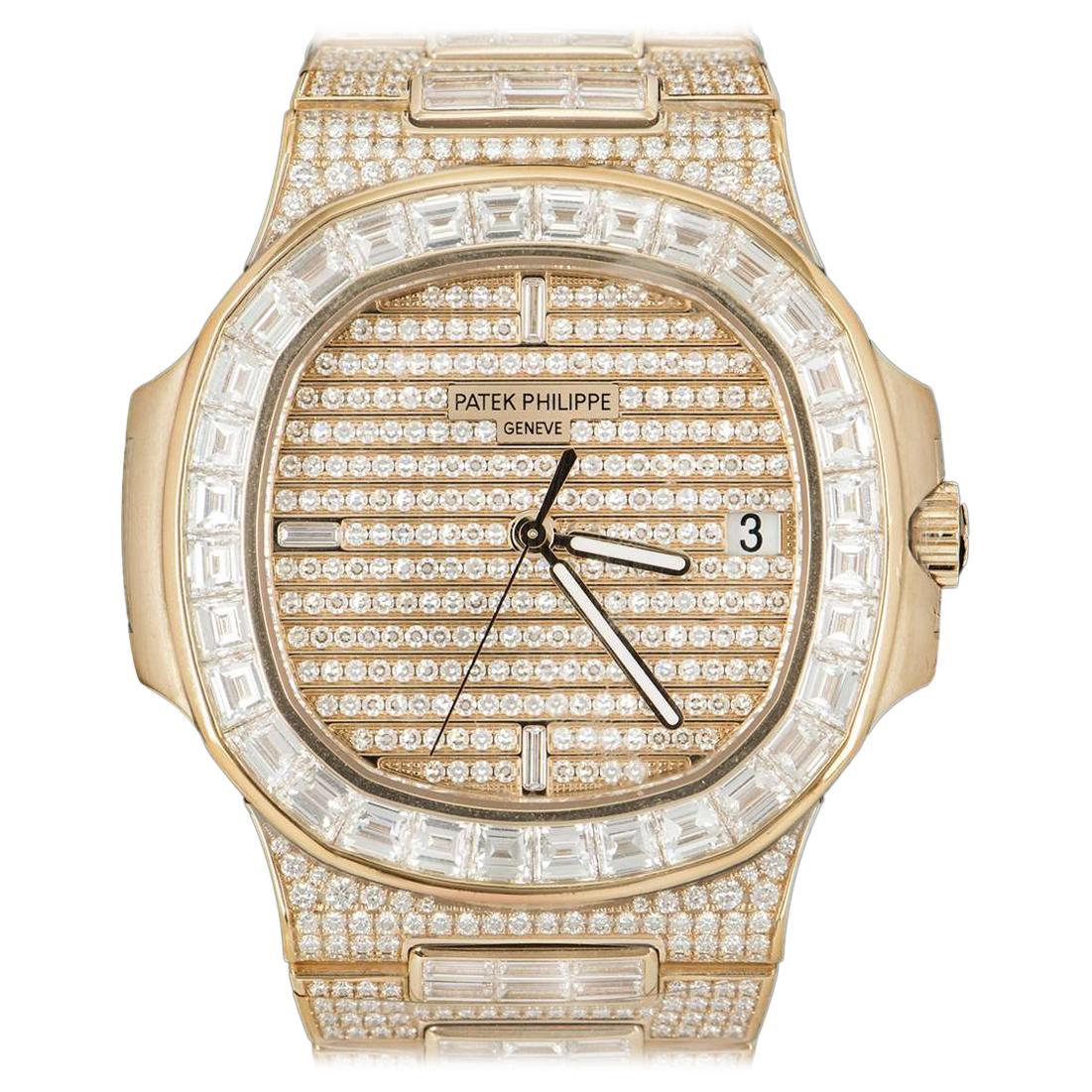 Rare Patek Philippe Nautilus Fully Loaded Rose Gold Diamond Set Automatic Watch