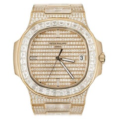 Rare Patek Philippe Nautilus Fully Loaded Rose Gold Diamond Set Automatic Watch
