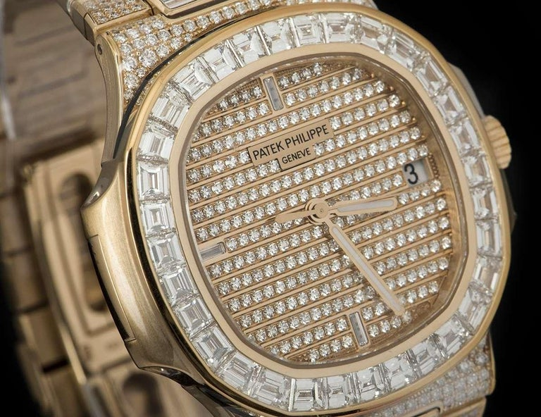 Rare Patek Philippe Nautilus Fully Loaded Rose Gold Diamond Set Automatic Watch In New Condition For Sale In London, GB