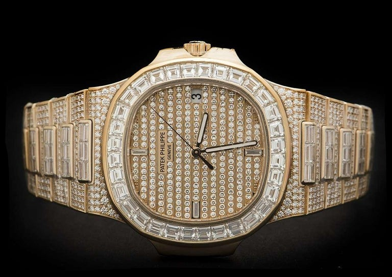 Women's or Men's Rare Patek Philippe Nautilus Fully Loaded Rose Gold Diamond Set Automatic Watch For Sale