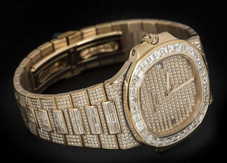 Rare Patek Philippe Nautilus Fully Loaded Rose Gold Diamond Set Automatic Watch For Sale 1