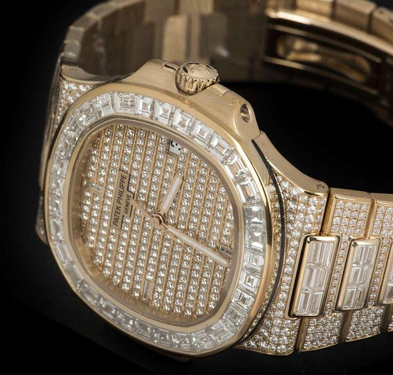 Rare Patek Philippe Nautilus Fully Loaded Rose Gold Diamond Set Automatic Watch For Sale 2