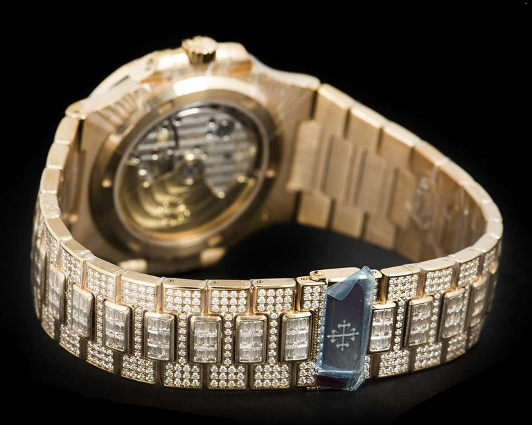 Rare Patek Philippe Nautilus Fully Loaded Rose Gold Diamond Set Automatic Watch For Sale 3
