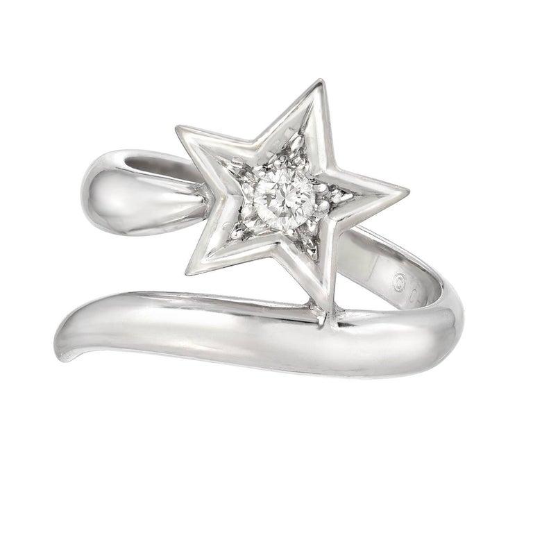 18 Karat White Gold and Diamond Star Ring, Chanel