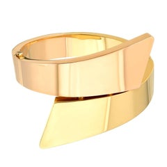 Sculptural 18k Yellow and Pink Gold Bangle