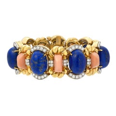 David Webb 1960s Lapis Coral Diamond Gold Bracelet