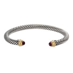 David Yurman SS/14KY Color Classic Bracelet with Pink Tourmaline Tips