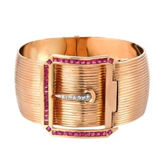 Retro Diamonds and Rubies Buckle  18K Pink Gold  Bangle