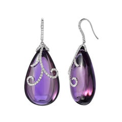 Amethyst and Diamond Pendant Earrings