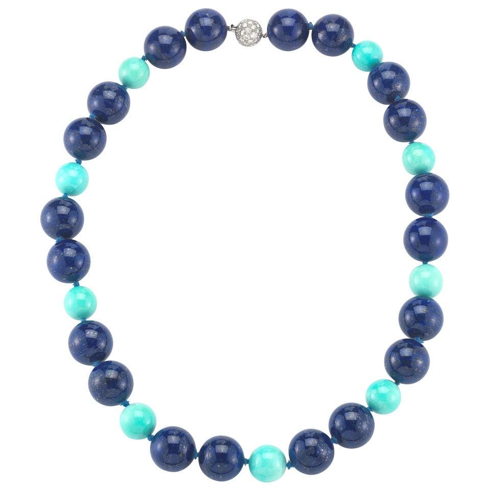 Tiffany And Co Lapis Lazuli Turquoise Diamond Necklace At