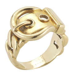 Hermes 18k Gold Buckle Ring