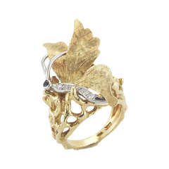 Cartier 18k Gold, Diamond adn Sapphire Butterfly Ring