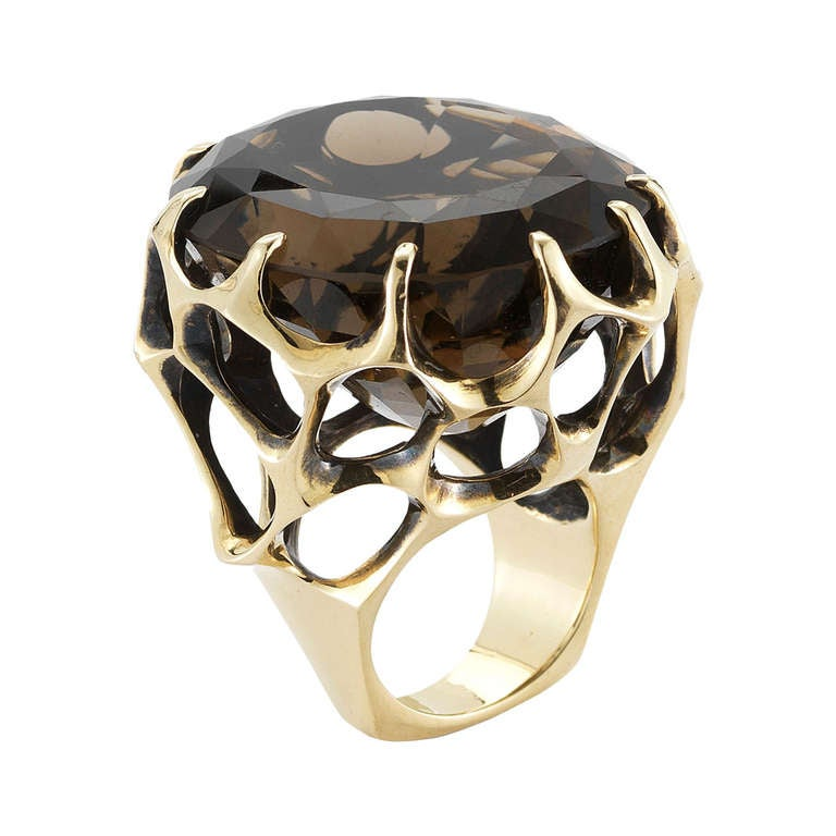 Walk On The Moon Smokey Topaz Cocktail Ring 1