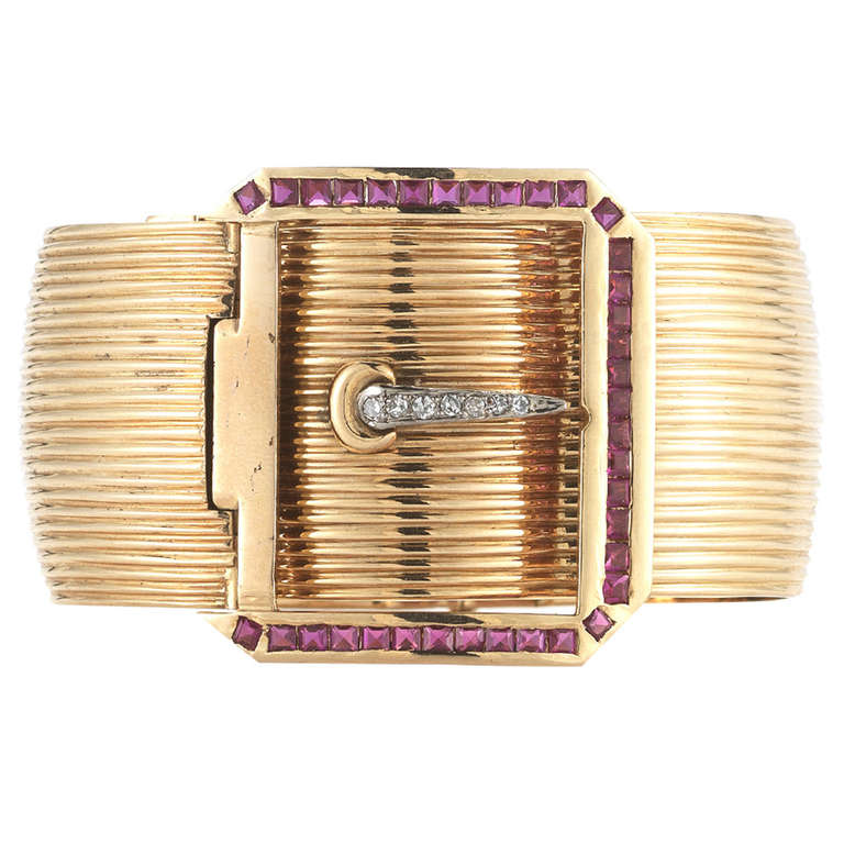 18K Pink Gold Buckle Retro Bangle with Diamonds and Rubies