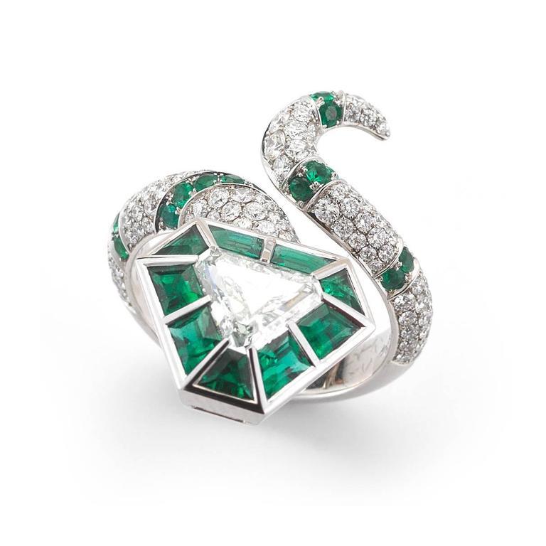 fancy bluish green color emerald platinum snake