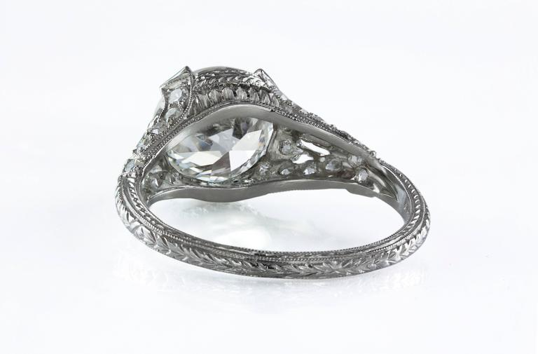Round Cut Antique GIA Certified Diamond Platinum Ring For Sale