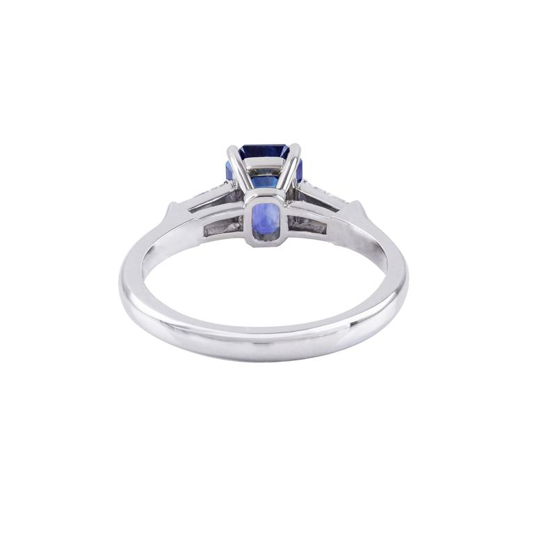 Women's Emerald Cut Sapphire Diamond Platinum Three-Stone Ring For Sale