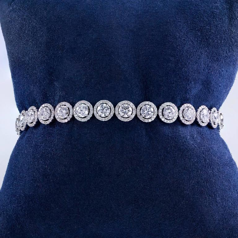 Women's Diamond Gold Halo Tennis Bracelet For Sale