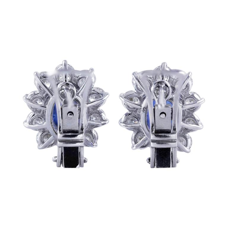 3.96 Carat Blue Sapphire Diamond White Gold Cluster Earrings 3