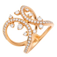 Diamond Gold Double Shank Right Hand Ring