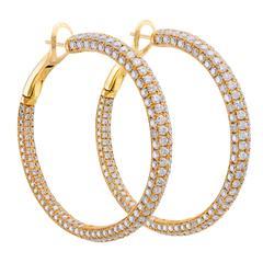 10.58 Carat Diamond Gold Hoop Earrings
