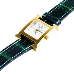 Hermes Gold-Plated Stainless Steel H Hour MM Quartz Wristwatch