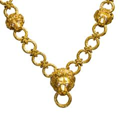 1960s Van Cleef & Arpels Diamond Gold Lion Motif Chain Necklace