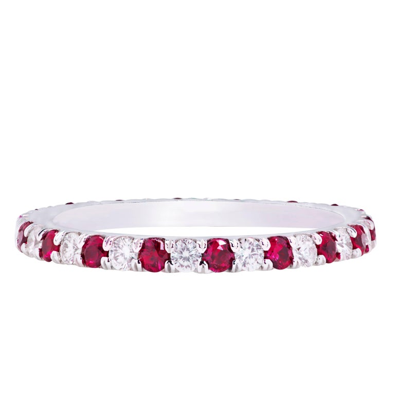 Alternating Ruby and Diamond Eternity Wedding Band Ring For Sale