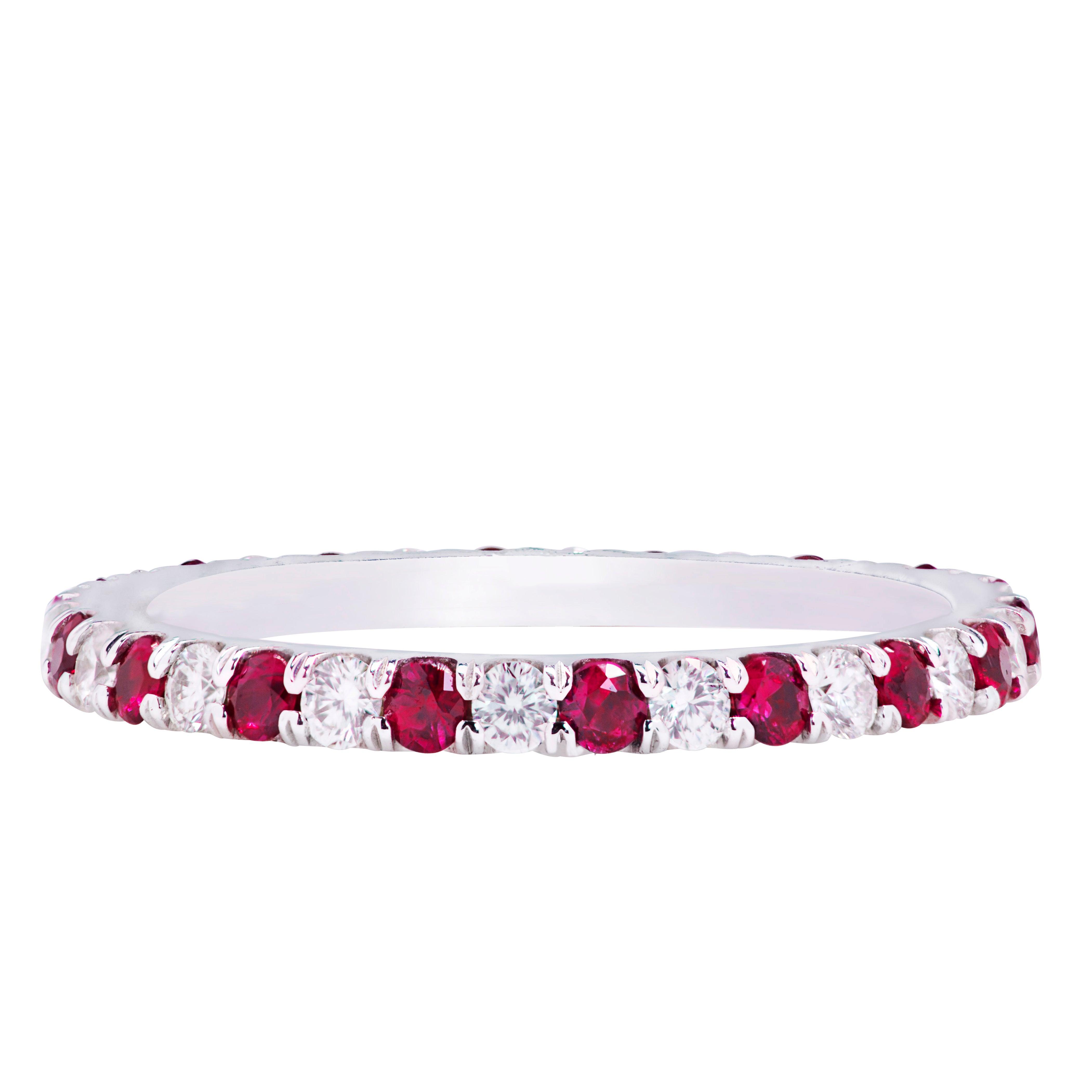 Alternating Ruby and Diamond Eternity Wedding Band Ring