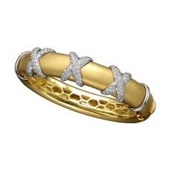 Diamond Yellow Gold Bangle Bracelet