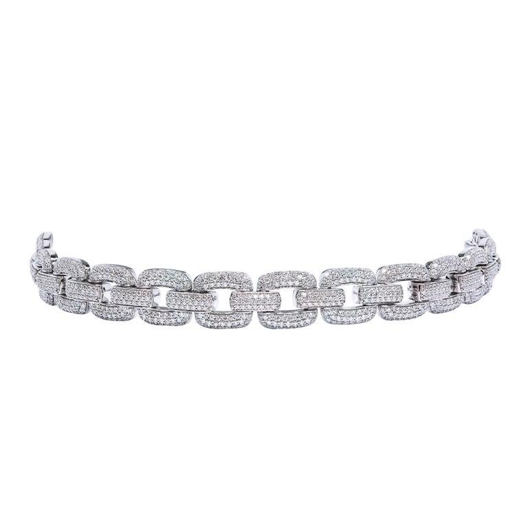 Gorgeous Micro Pave Diamond Gold Link Bracelet