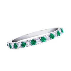 Alternating Emerald and Diamond Wedding Band
