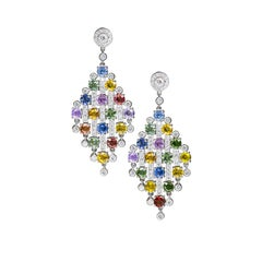 Fancy Color Sapphire Diamond Gold Chandelier Earrings