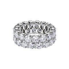 8.39 Carat Round Diamond Double Row Eternity Wedding Band