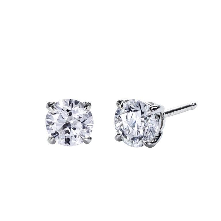 Round Brilliant Diamond Gold Stud Earrings