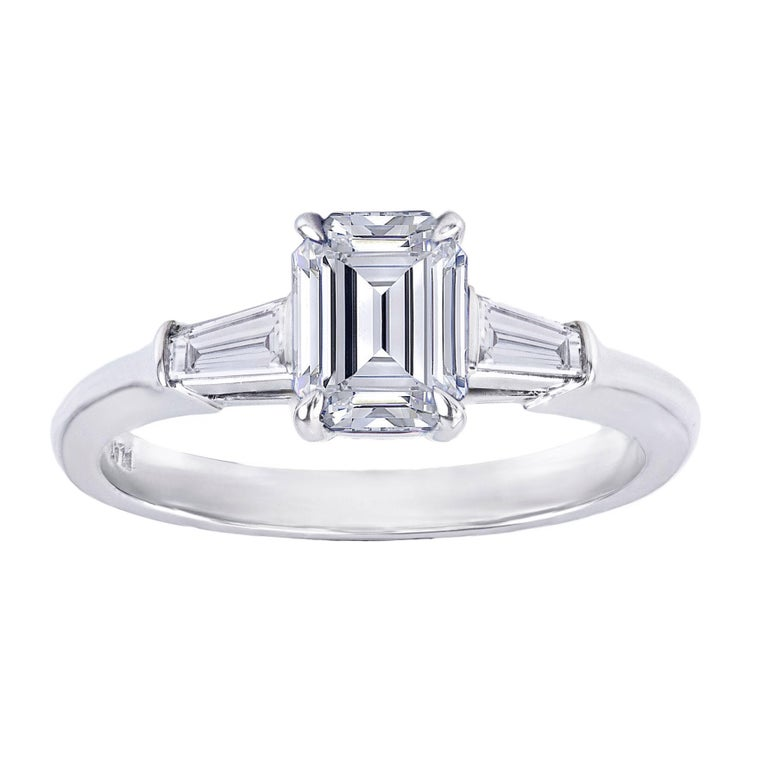 GIA Certified 1.77 Emerald Cut Diamond Engagement Ring For Sale