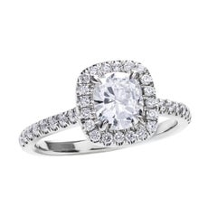 GIA Certified Cushion Cut Diamond Engagement Ring