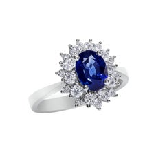 2.09 Carat Blue Sapphire Diamond Gold Flower Halo Ring