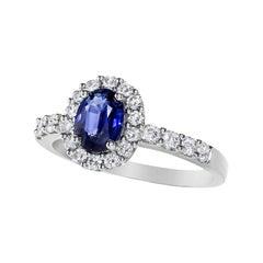 1.02 Carat Blue Sapphire Diamond Gold Halo Engagement Ring