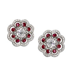 Ruby and Diamond Platinum Floral Motif Stud Earrings