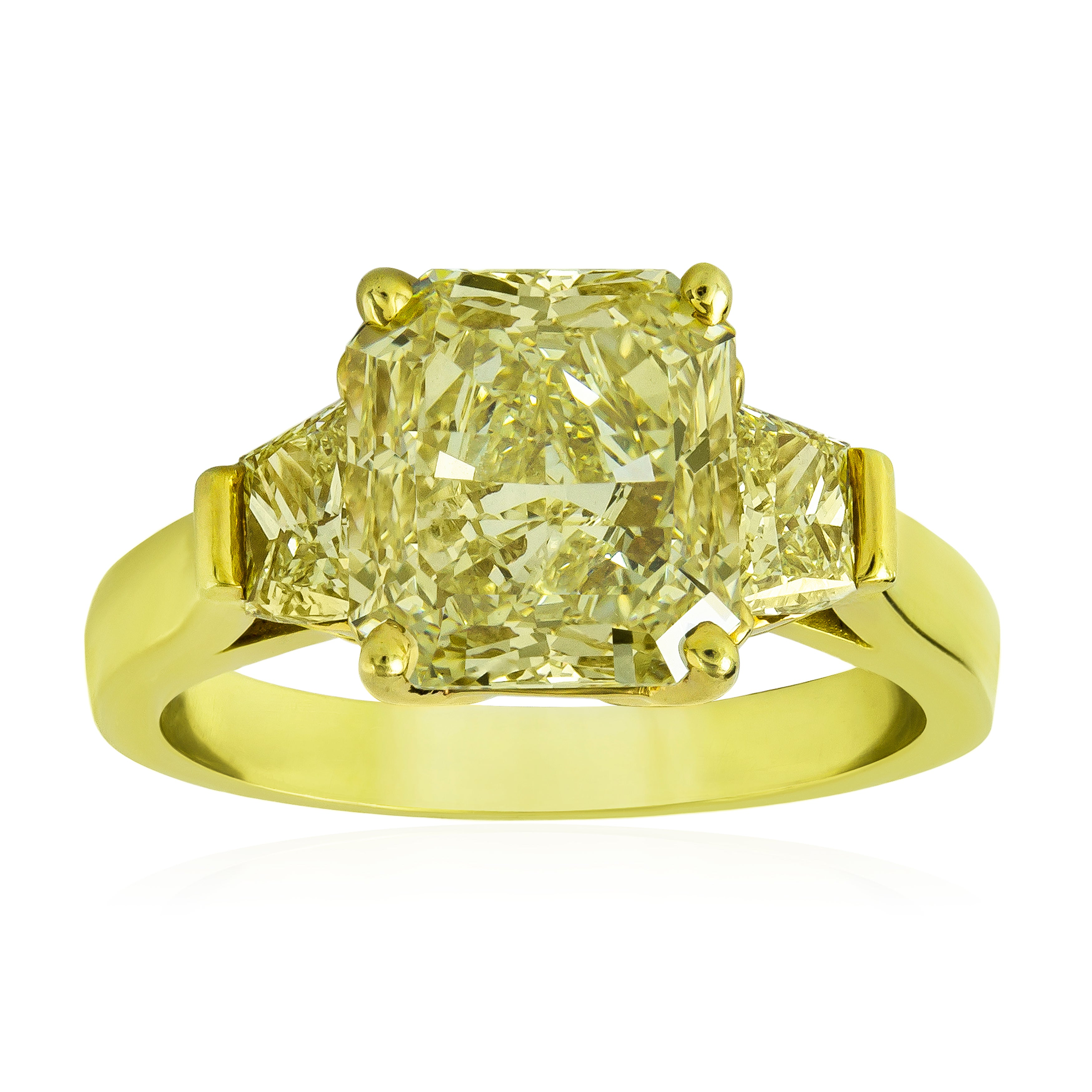 Roman Malakov, Radiant Cut Yellow Diamond Three-Stone Engagement Ring